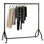 6ft Garment Clothes Rail Super Heavy Duty All Metal Black