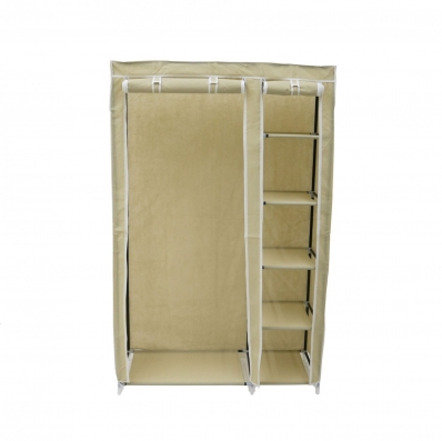 Double cream canvas wardrobe clothes rail hanging storage - Bedroom furniture for hanging clothes ...