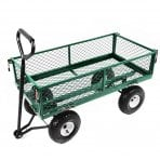 Heavy Duty Metal Gardening Trolley - Green Trailer Cart