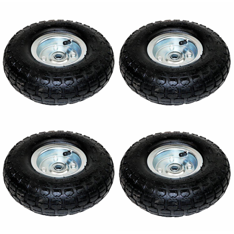 """4 x 10/""""Heavy Duty Pneumatic Sack Truck Trolley Wheel Barrow Tyre Tyres Black"""