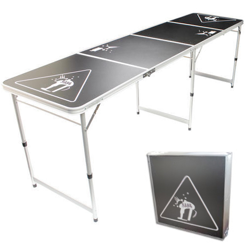 new official size 8 foot folding beer pong table bbq drinking party ebay. Black Bedroom Furniture Sets. Home Design Ideas