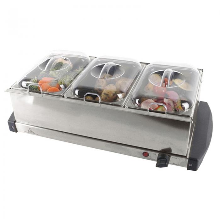 new stainless steel electric 3 pan buffet food server. Black Bedroom Furniture Sets. Home Design Ideas