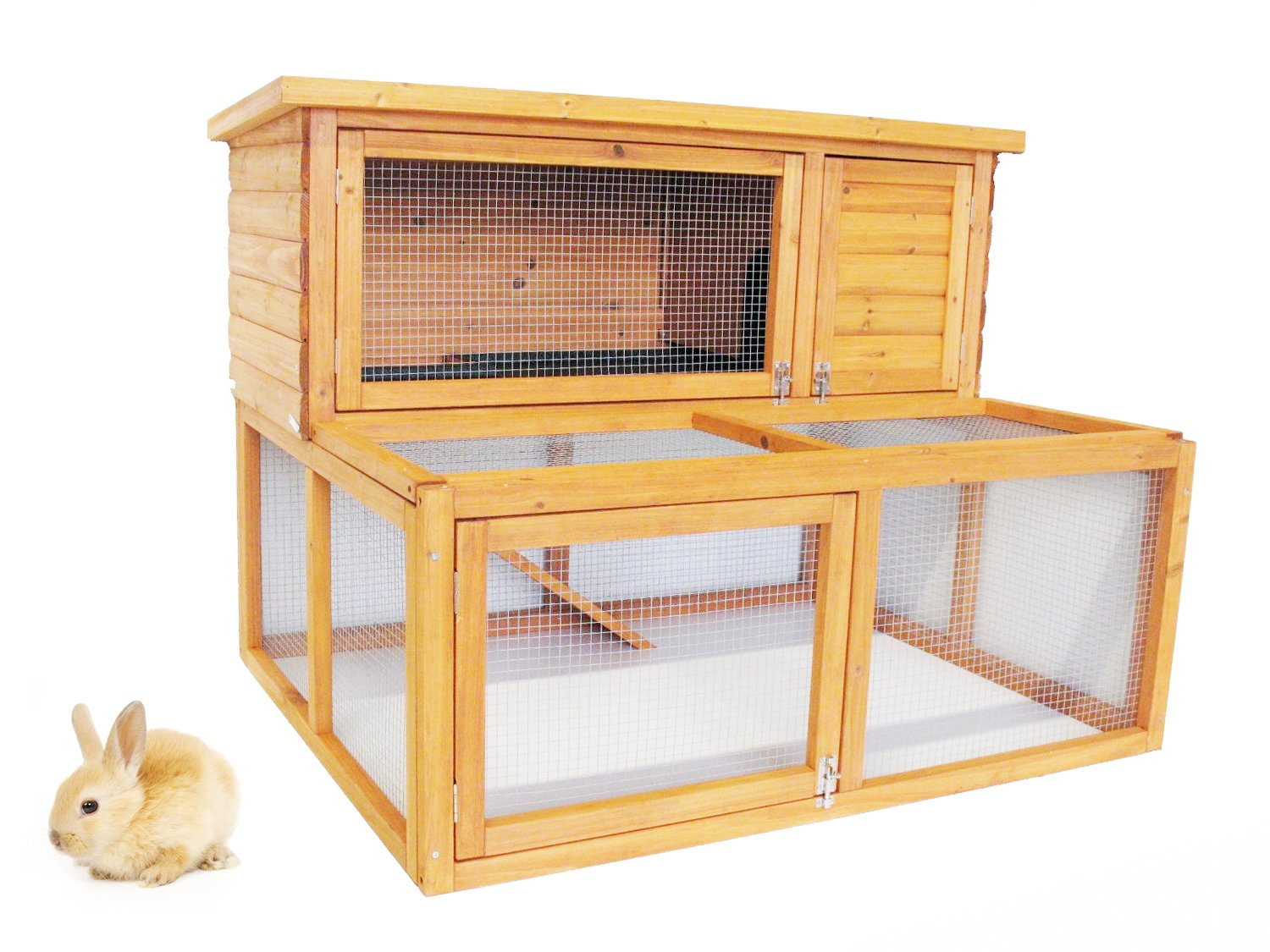 Rabbit hutch 2 tier extended guinea pig pet house with for 2 rabbit hutch