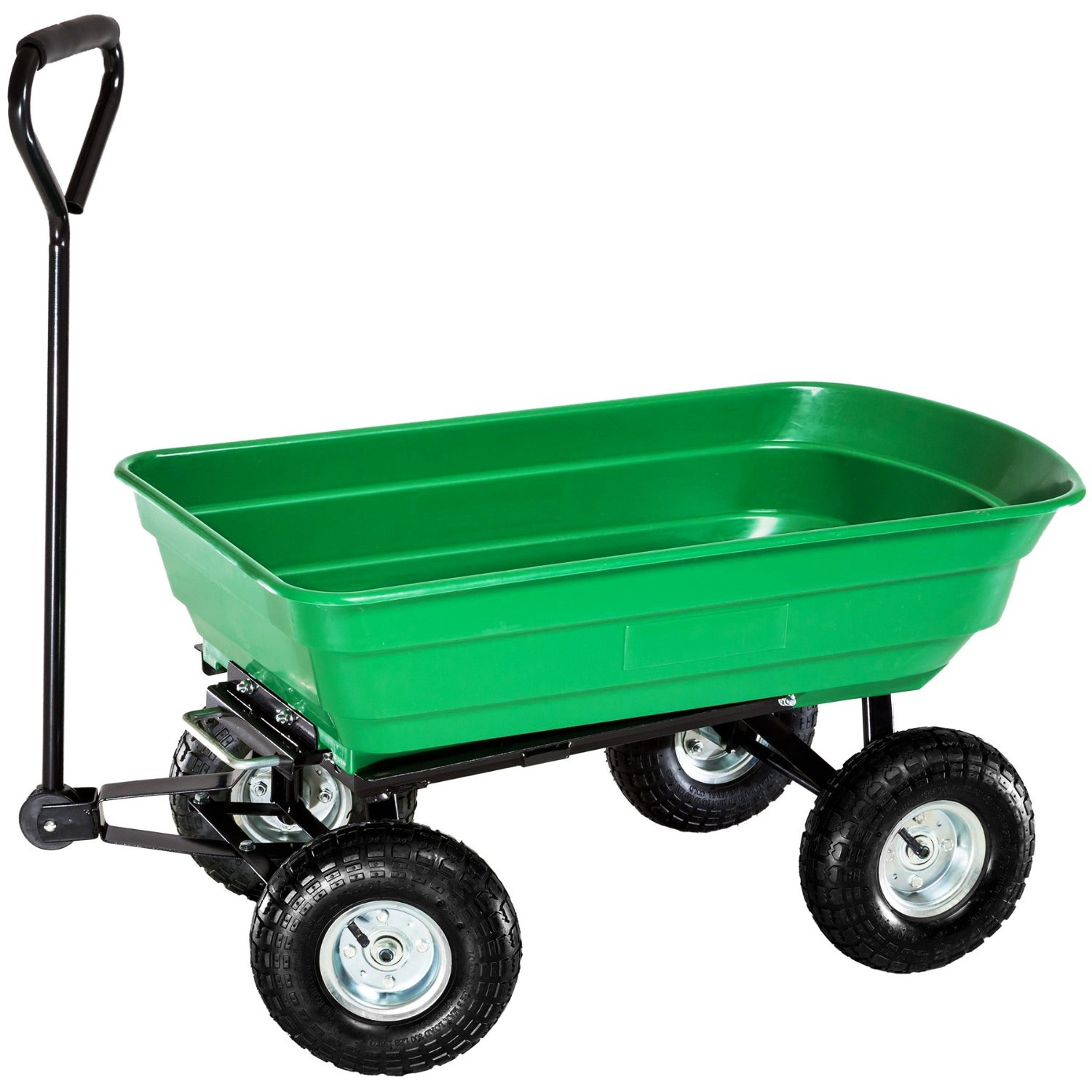 Heavy duty green garden cart with tipping barrow trolley for Brouette de jardin 4 roues