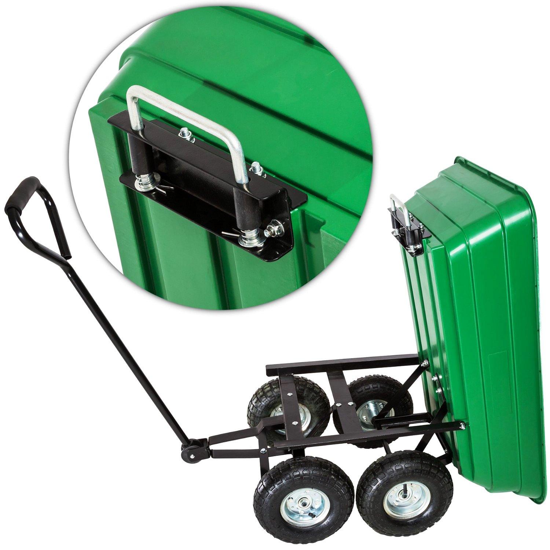 ... Heavy Duty Green Garden Cart With Tipping Barrow Trolley ...