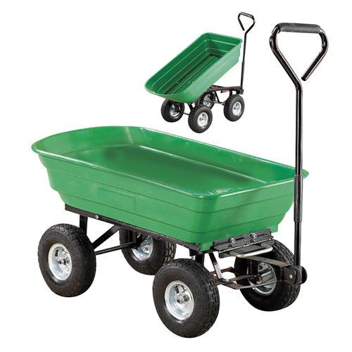 Heavy Duty Green Garden Cart With Tipping Barrow Trolley