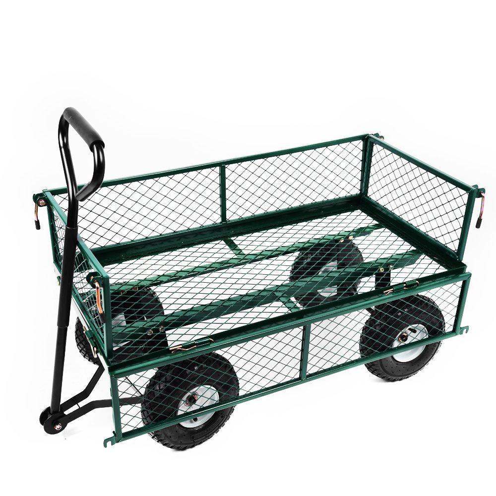 Heavy Duty Metal Gardening Trolley - Green Trailer Cart ...