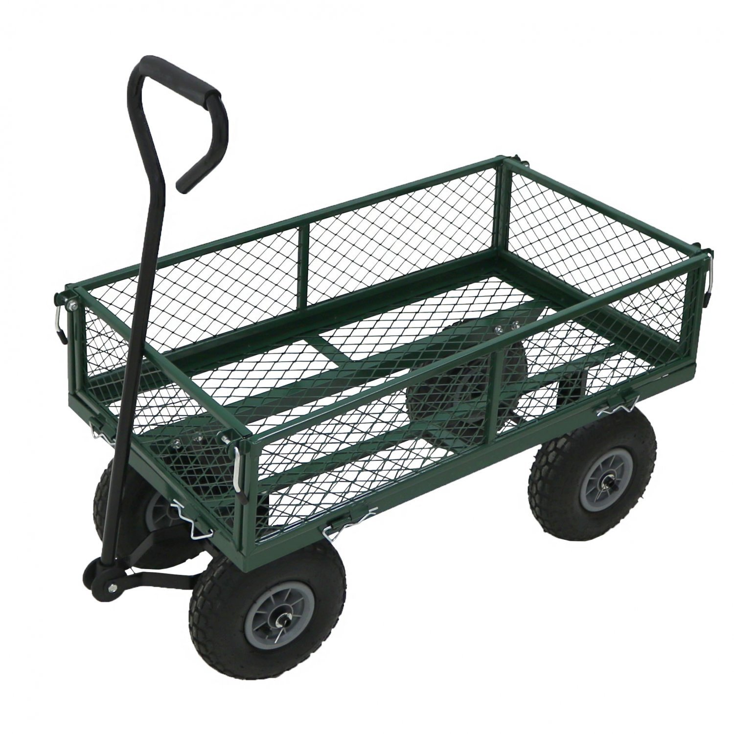 Heavy Duty Metal Gardening Trolley Green Trailer Cart