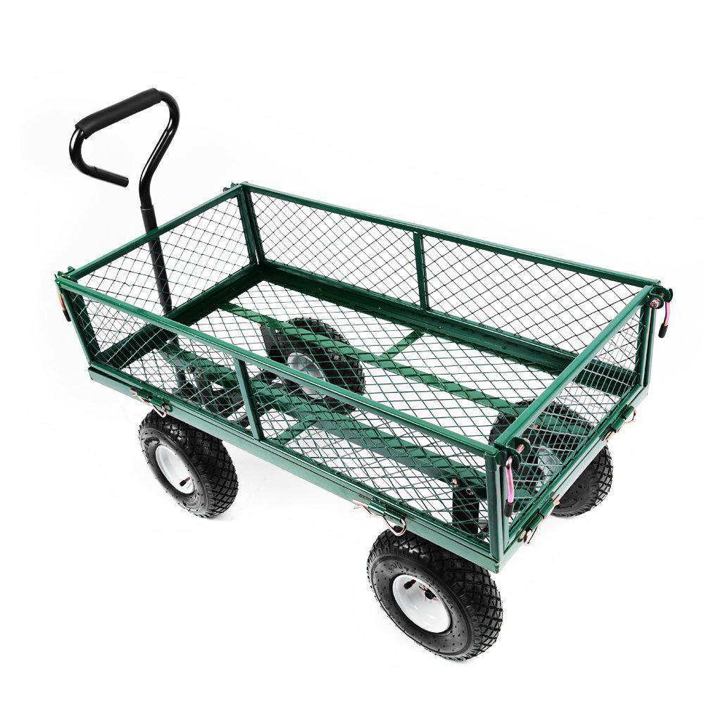 ... Heavy Duty Metal Gardening Trolley   Green Trailer Cart ...