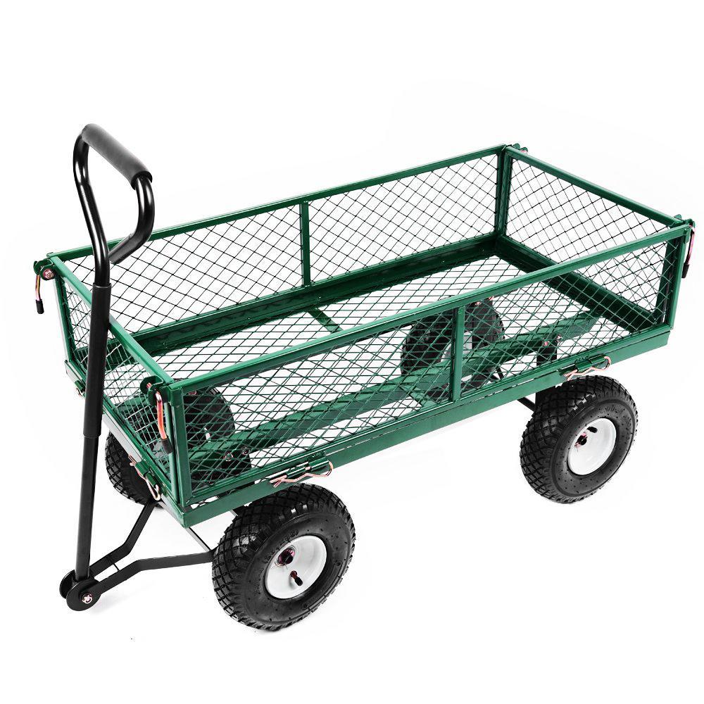 Elegant Heavy Duty Metal Gardening Trolley   Green Trailer Cart