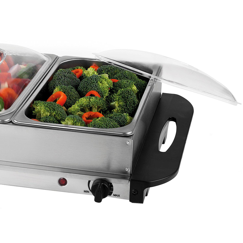 3 Tray Food Warmer ~ Stainless steel electric pan buffet food warmer hot
