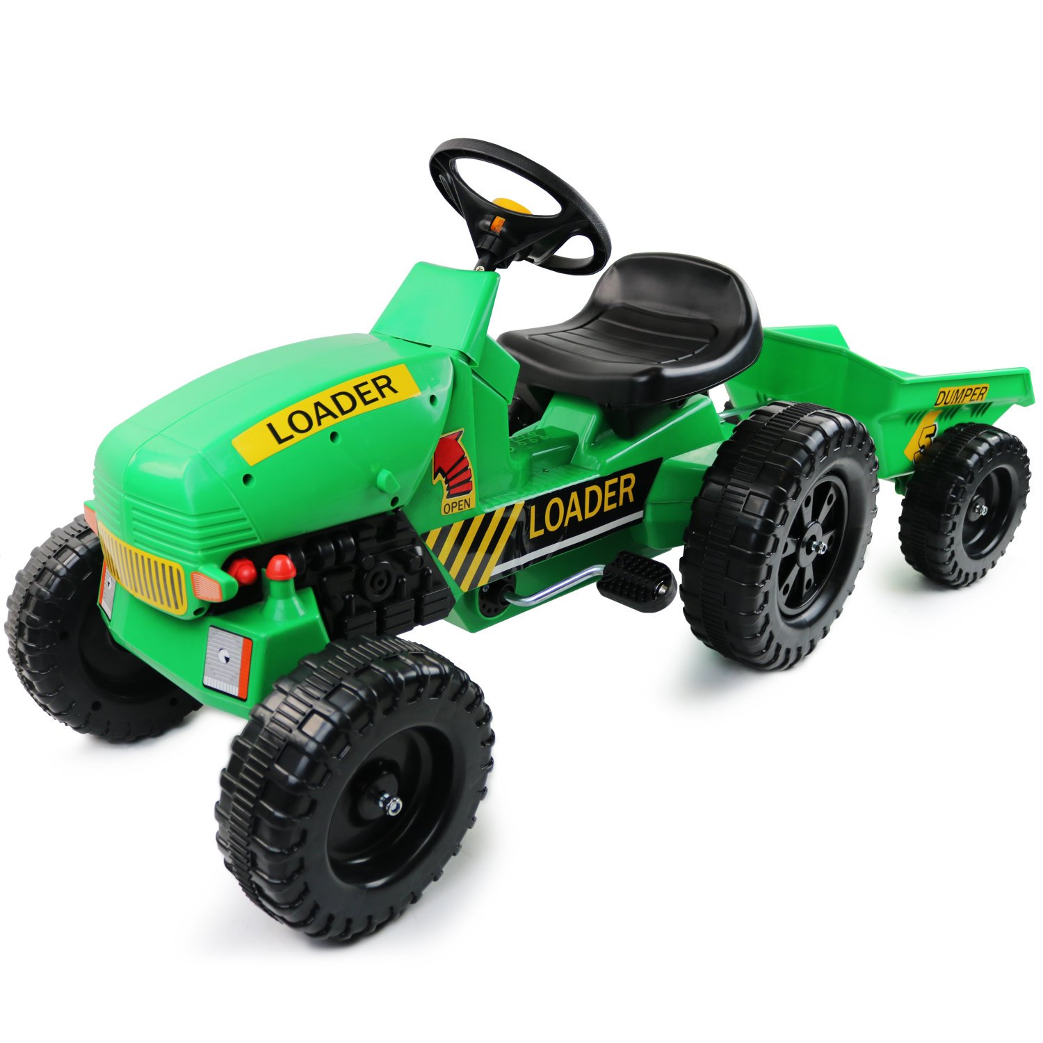 Childrens Pedal Ride on Green Super Tractor With Toy Trailer