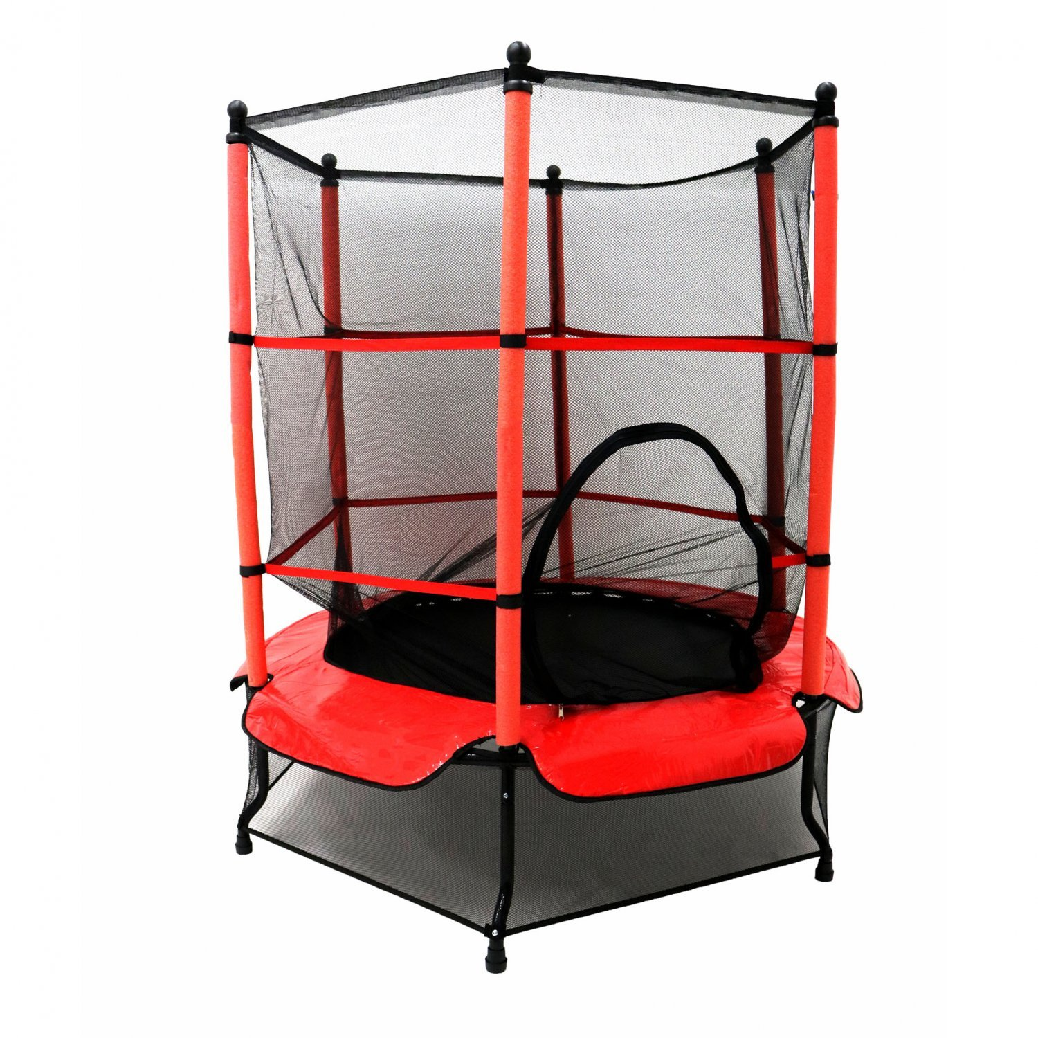 Kid Trampoline Lafayette: 55 Kids Trampoline With Safety Net And Red Cover Garden