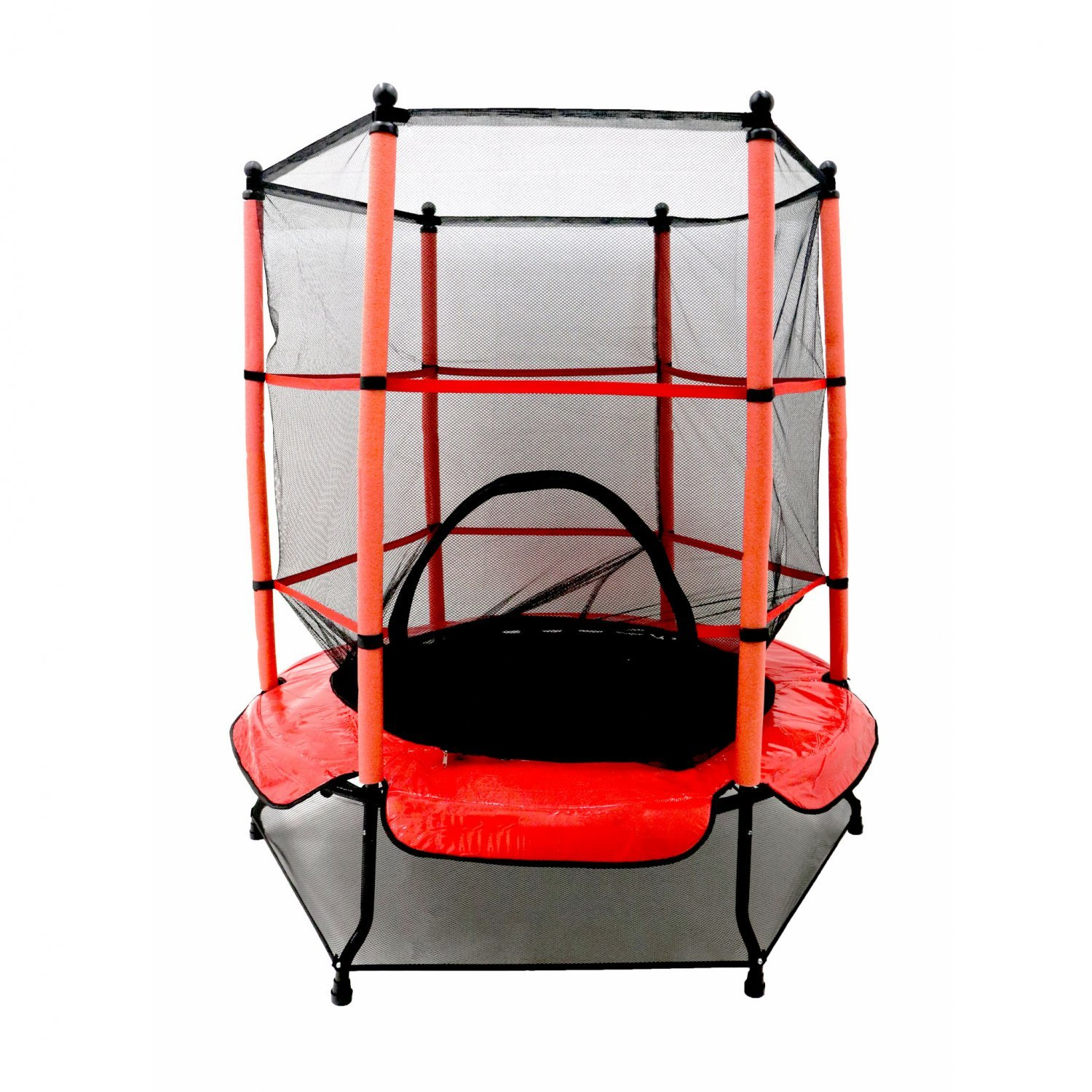 55 Kids Trampoline With Safety Net And Red Cover Garden