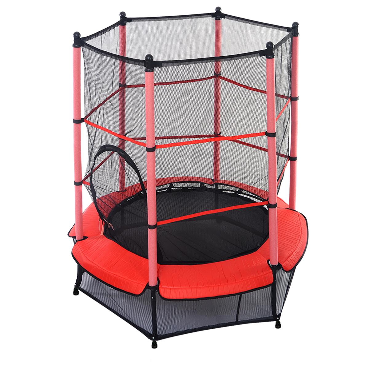 55 Kids Trampoline with Safety Net and Red Cover Garden ...