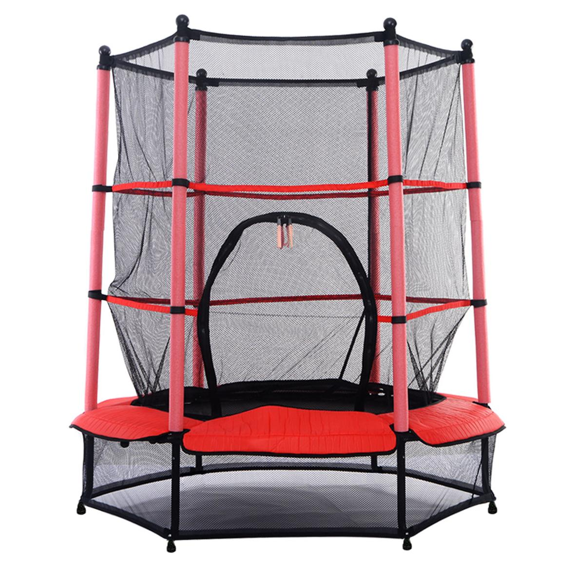 """NEW! 55"""" Kids Trampoline With Safety Net Enclosure & Red"""