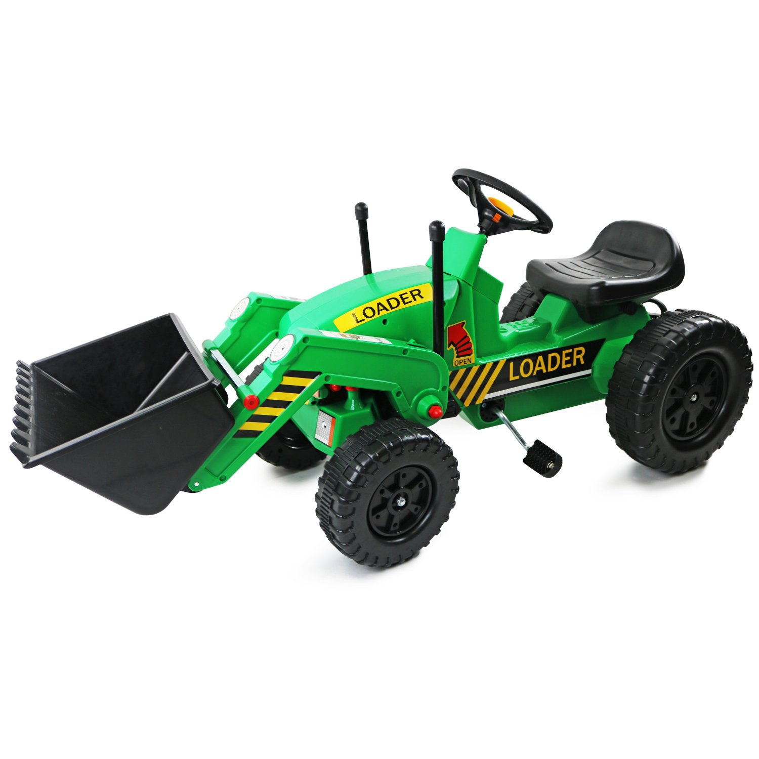 Childrens Pedal Ride On Green Super Kids Bucket Loader