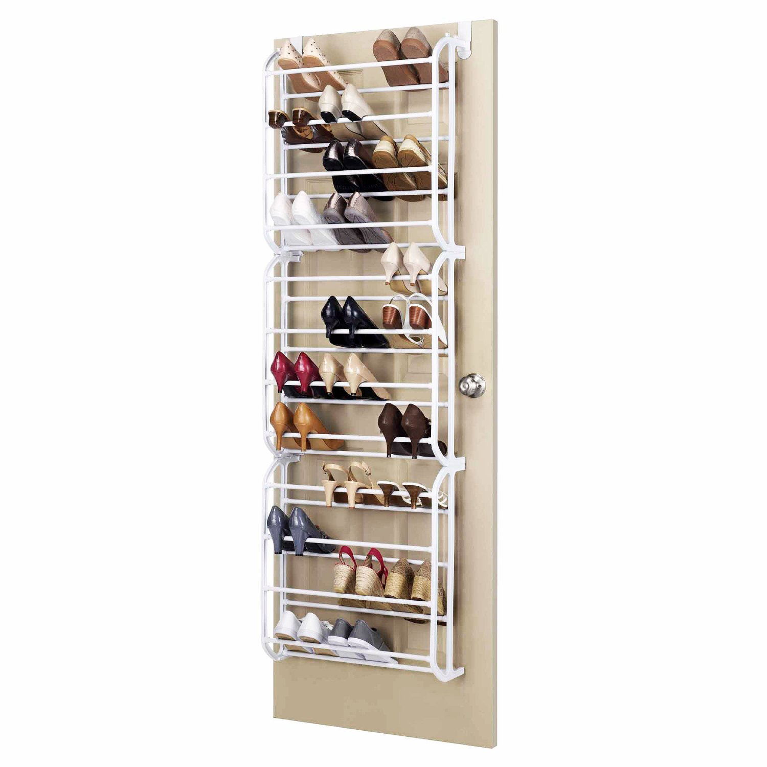 Door hanging shoe rack white 36 pair oypla for Door shoe organizer