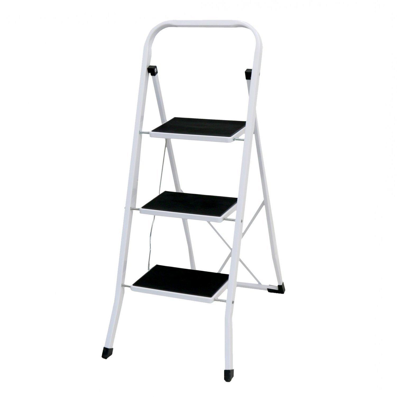 Foldable 3 Step Ladder Stepladder Non Slip Tread Safety