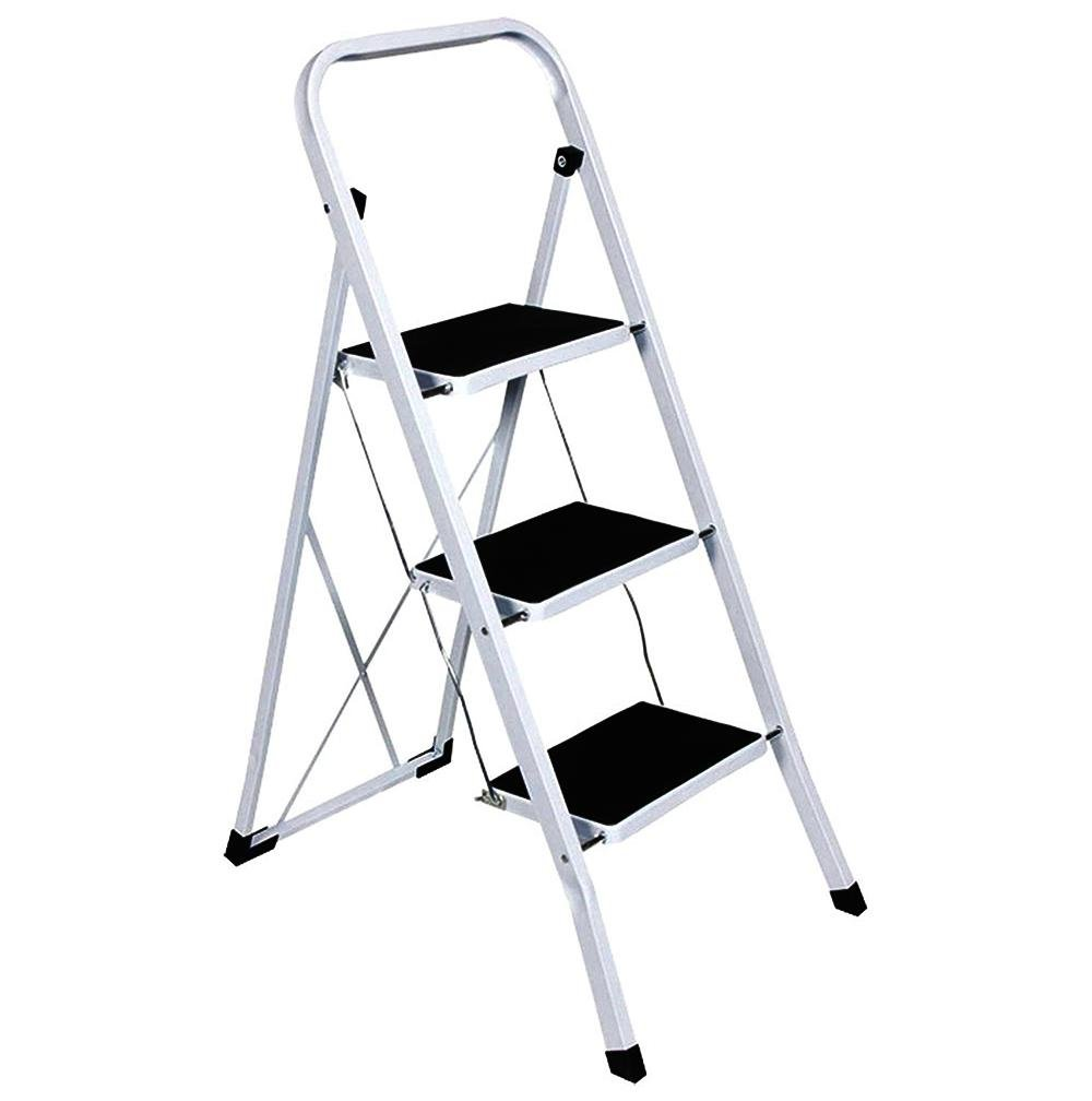Foldable 3 Step Ladder Stepladder Non Slip Tread Safety
