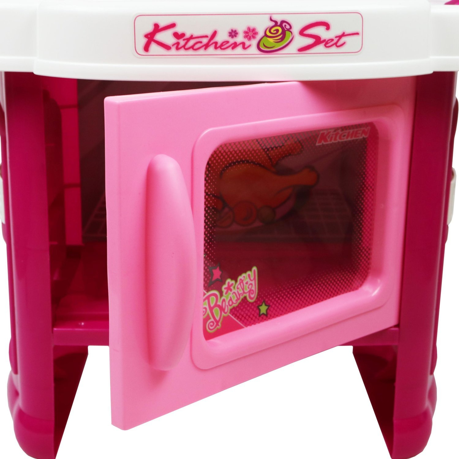 Realistic Play Kitchen Ultimate Corner With Lights And: Childrens Kids Pink Play Electronic Kitchen Cooking