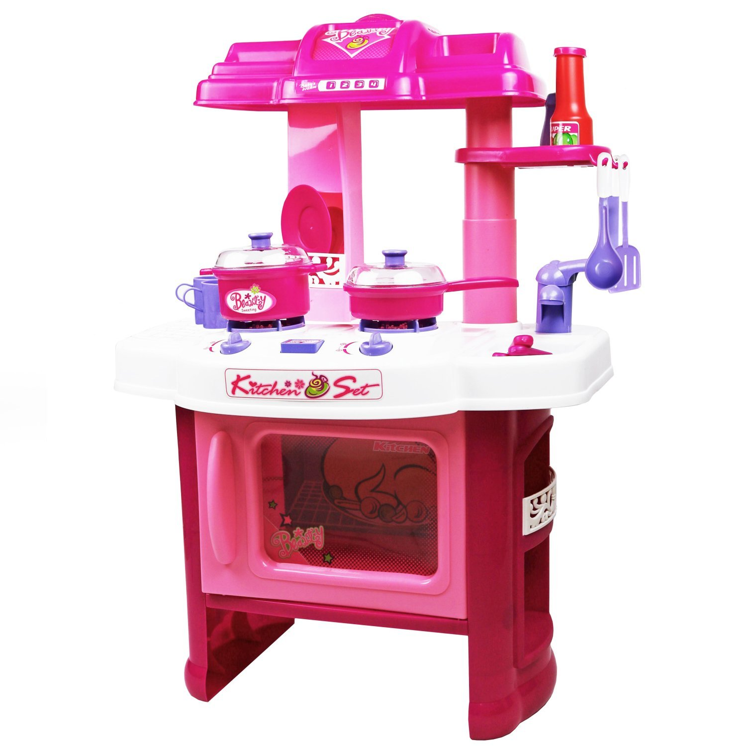Electronic Kitchen Set: Childrens Kids Pink Play Electronic Kitchen Cooking