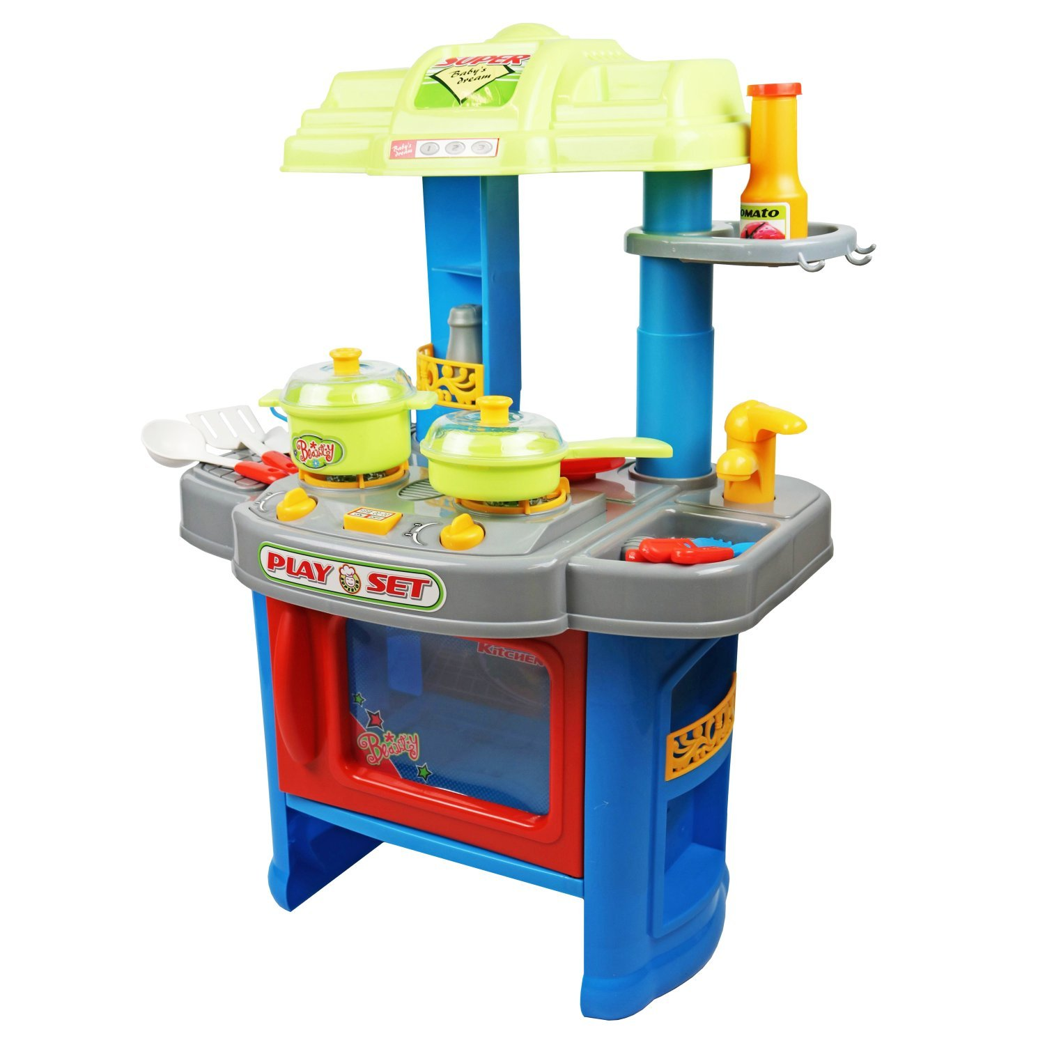 Childrens kids roleplay electronic kitchen cooking playset for Kitchen kitchen set