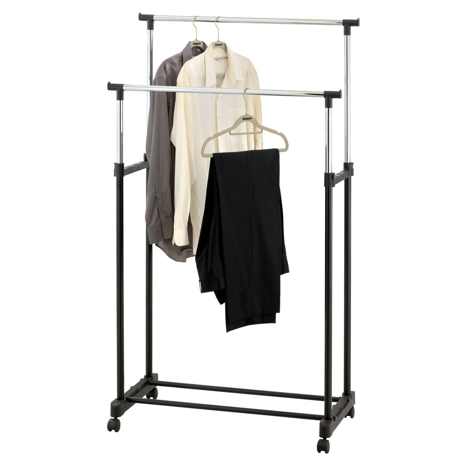 Double Clothes Rail Portable Hanging Garment W Shoe Rack