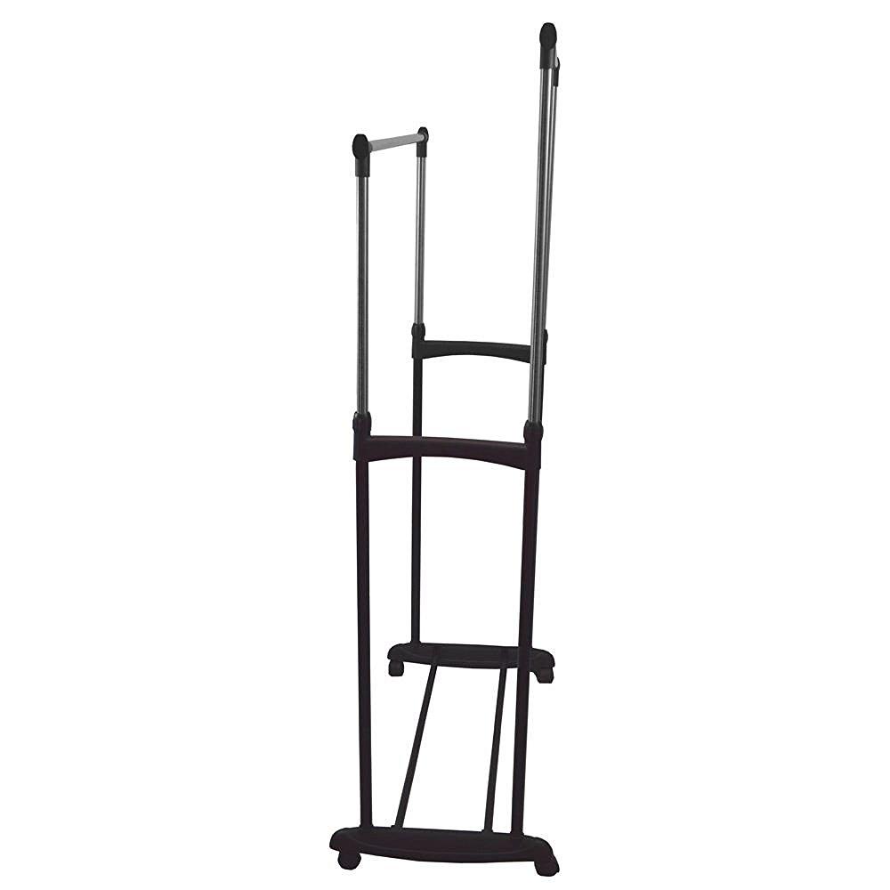 ... Double Clothes Rail Portable Hanging Garment W/ Shoe Rack Shelf ...