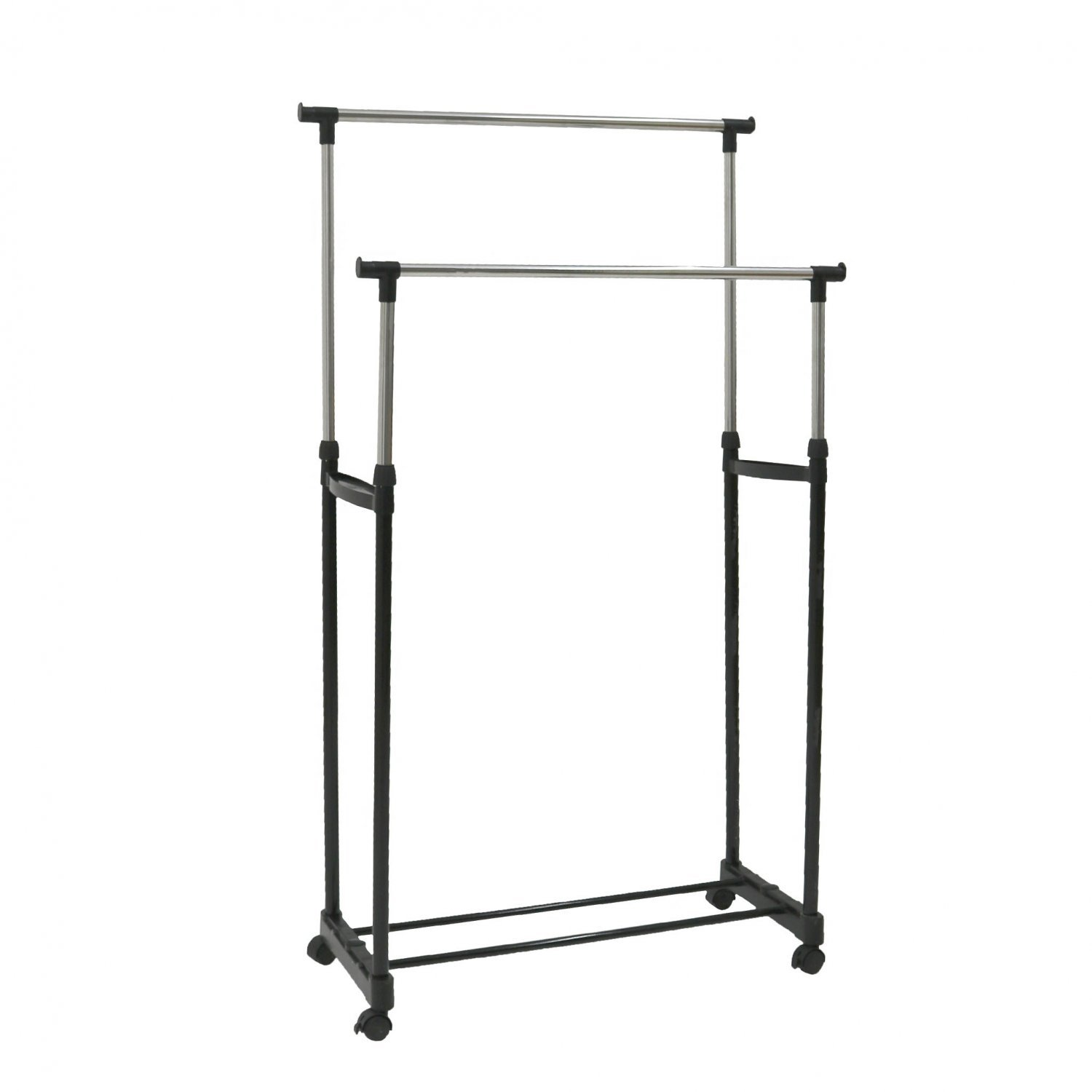 double clothes rail portable hanging garment w shoe rack shelf oypla stocking the. Black Bedroom Furniture Sets. Home Design Ideas