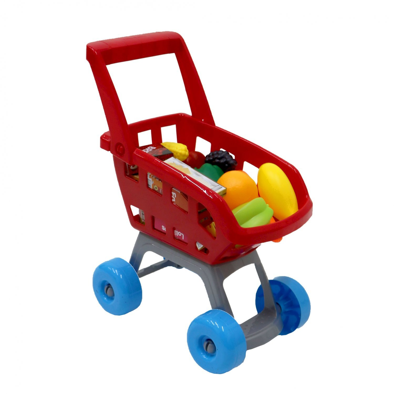 Red Childrens Kids Role Play Supermarket Shopping Trolley