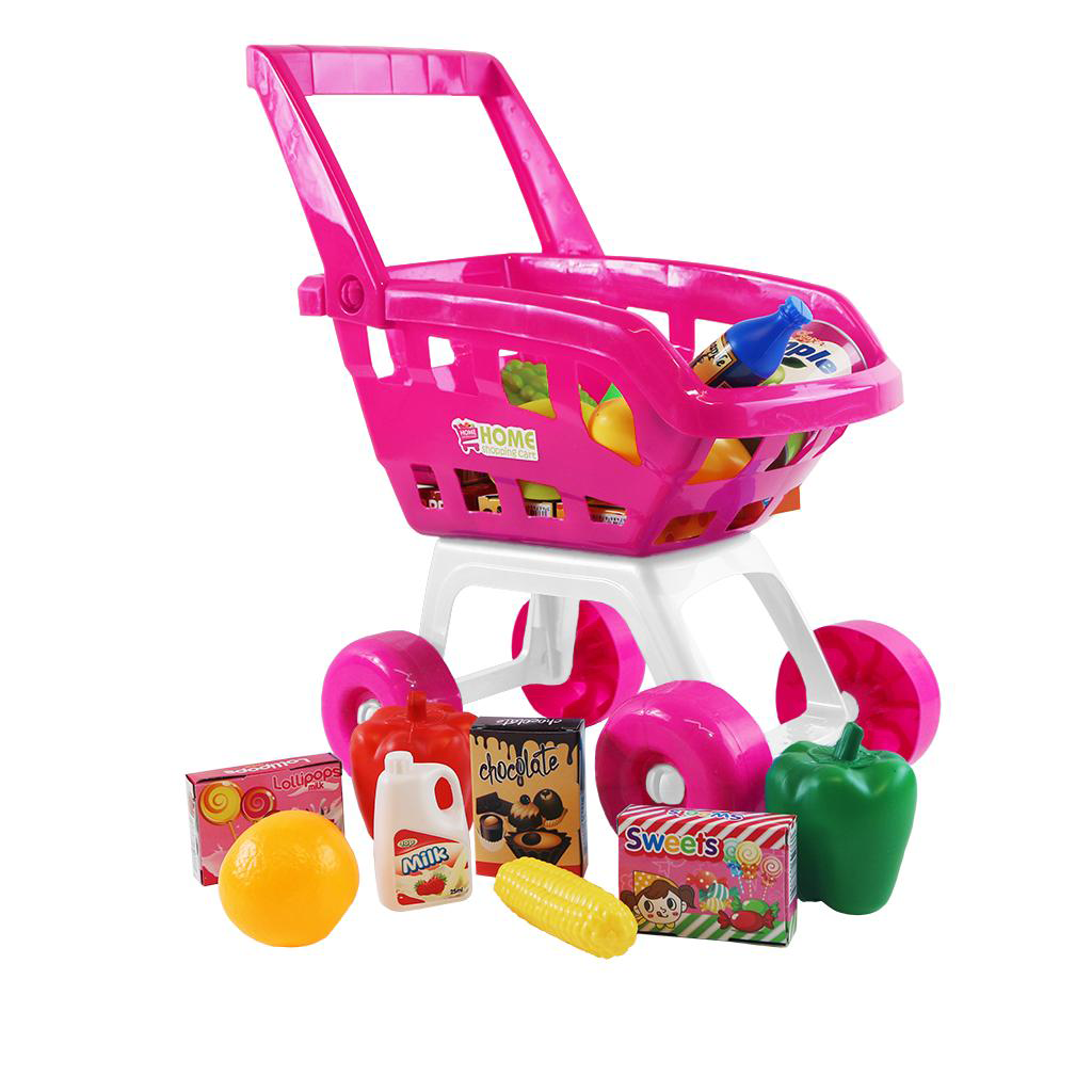 Pink Childrens Kids Role Play Supermarket Shopping Trolley ...