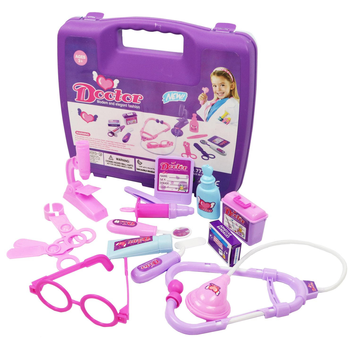 Toy Medical Kit : Pink childrens kids role play doctor nurses toy set
