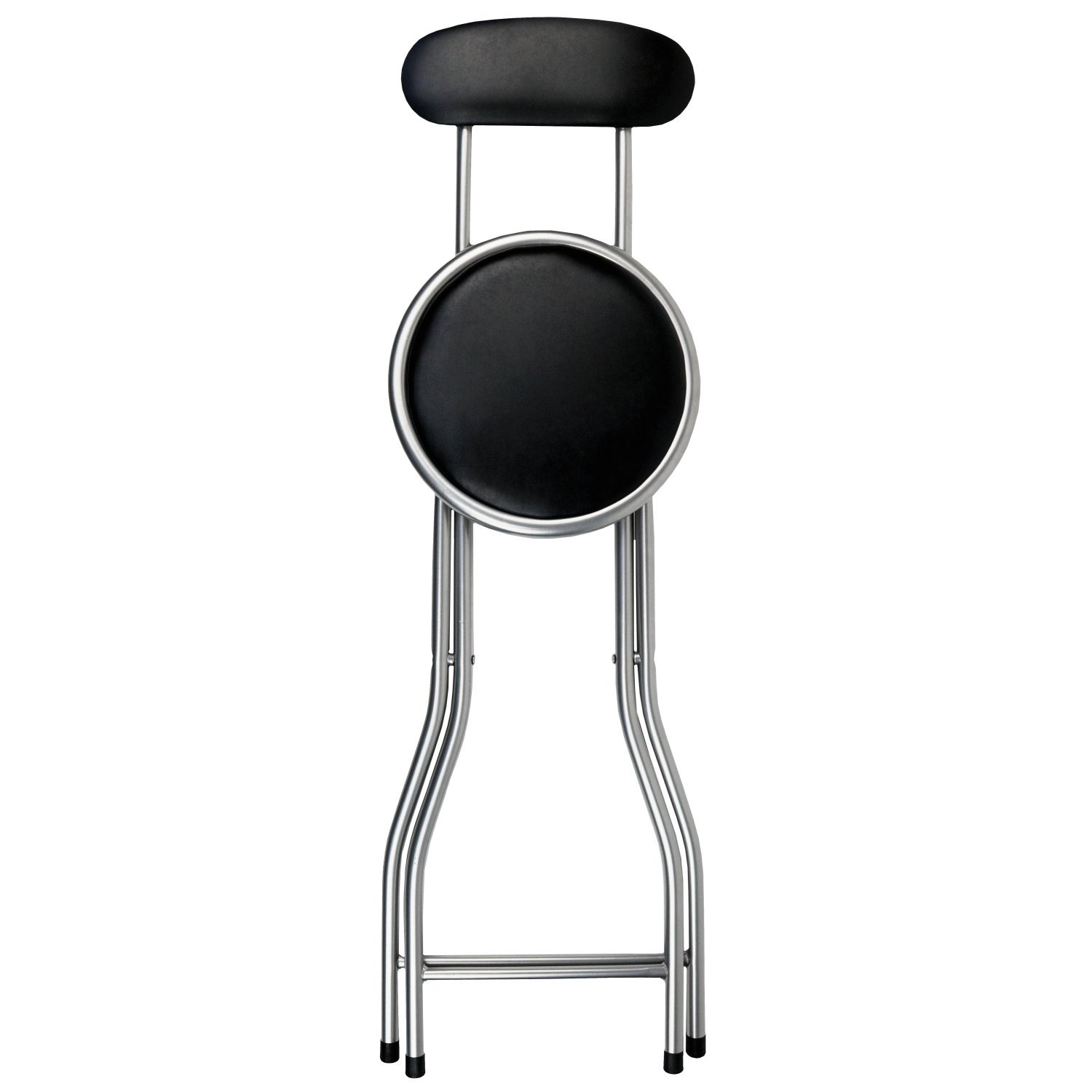 Folding Bar Stools ~ Black padded folding high chair breakfast kitchen bar