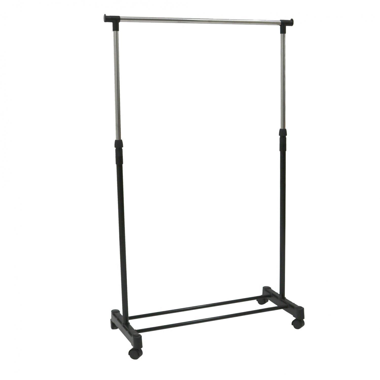 Adjustable Single Mobile Clothes Garment Hanging Rail