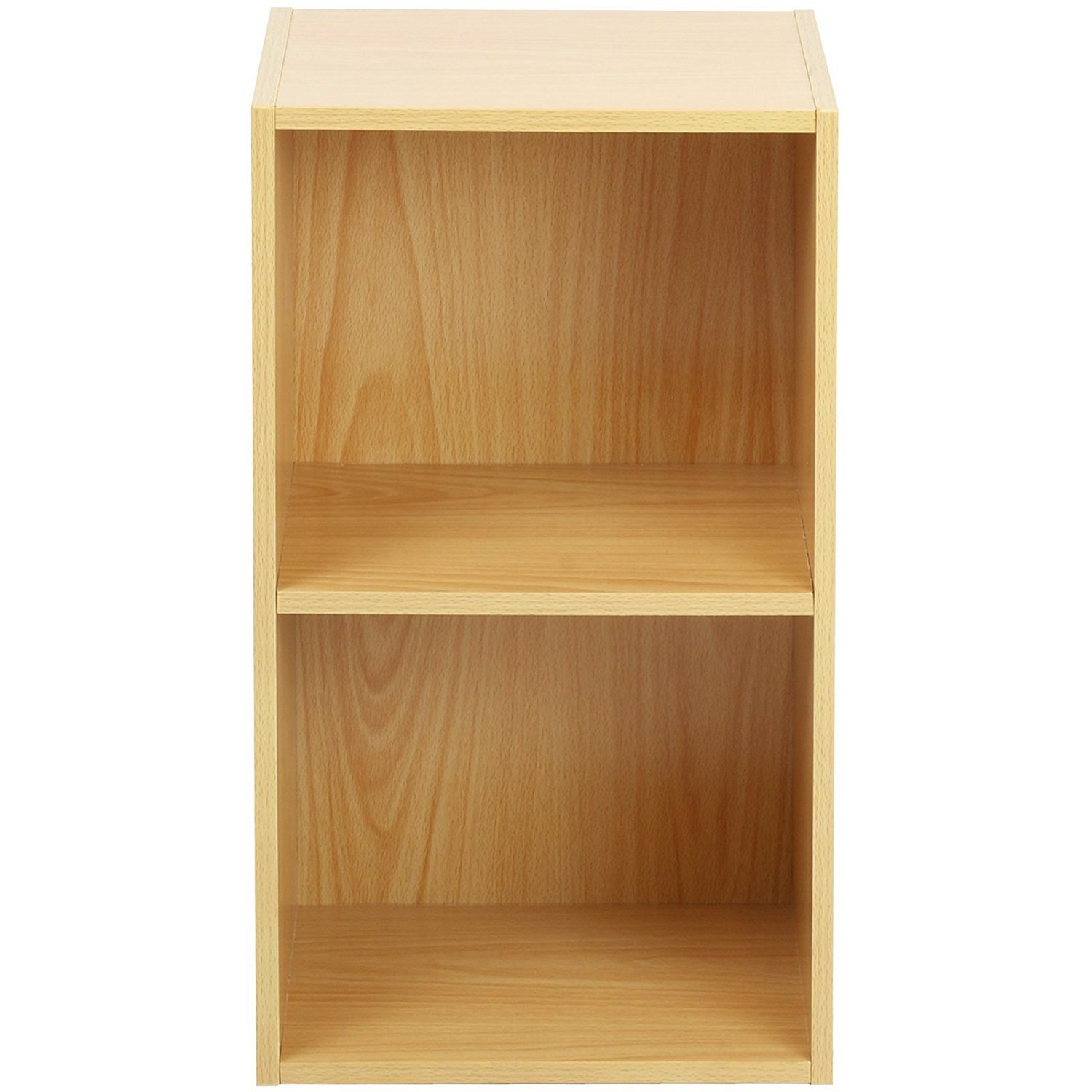 2 tier wooden shelf beech bookcase shelving storage for Display home furniture