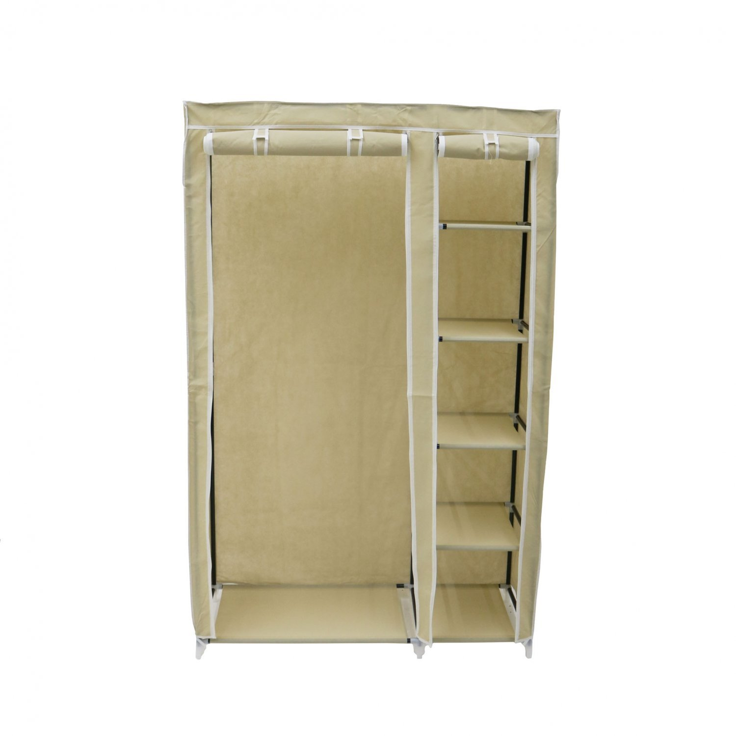 Double Cream Canvas Wardrobe Clothes Rail Hanging Storage Closet