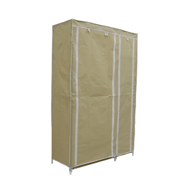 Double Cream Canvas Wardrobe Clothes Rail Hanging Storage