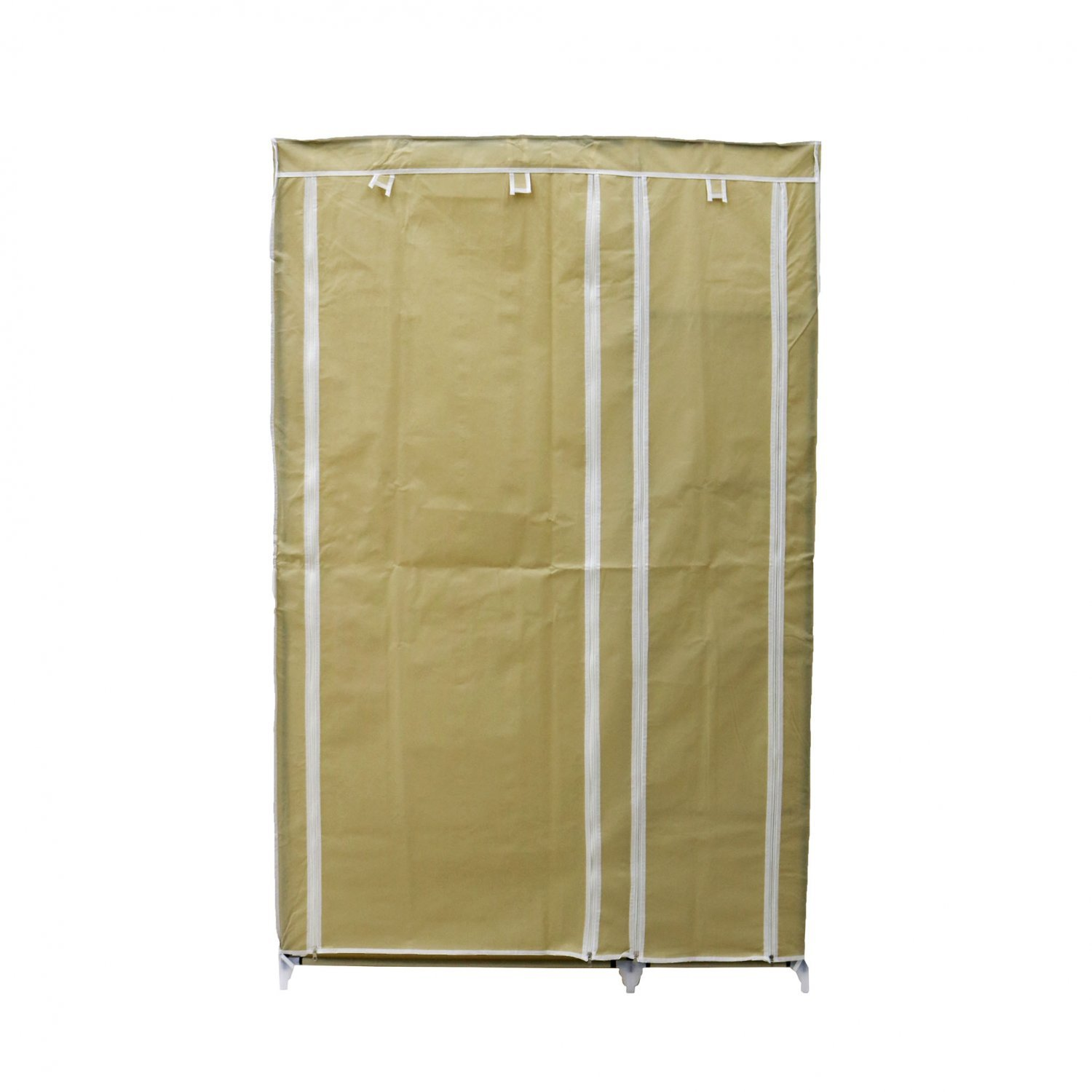 Double Cream Canvas Wardrobe Clothes Rail Hanging Storage