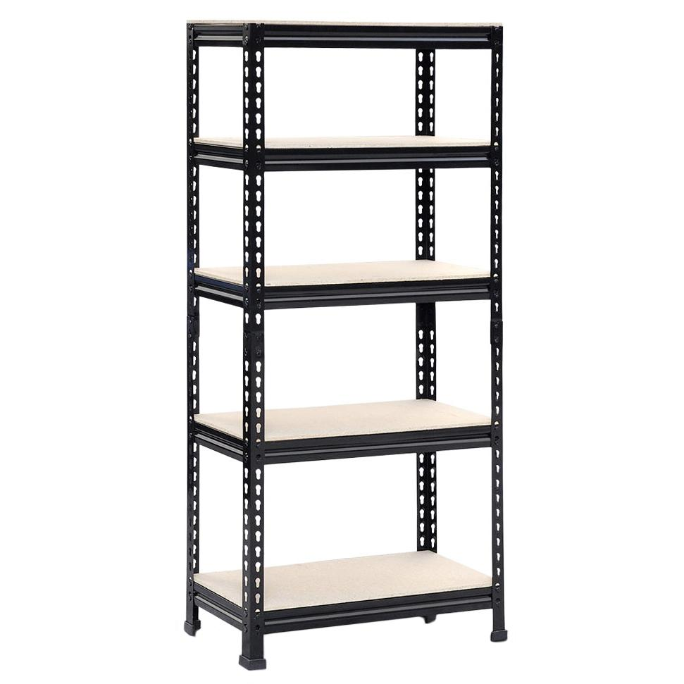 new 4 tier black plastic heavy duty shelving racking file storage unit 638353968311 ebay. Black Bedroom Furniture Sets. Home Design Ideas