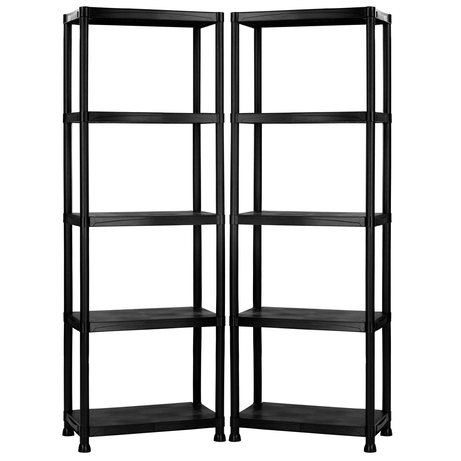 5 tier black plastic heavy duty shelving racking storage unit oypla stocking the. Black Bedroom Furniture Sets. Home Design Ideas