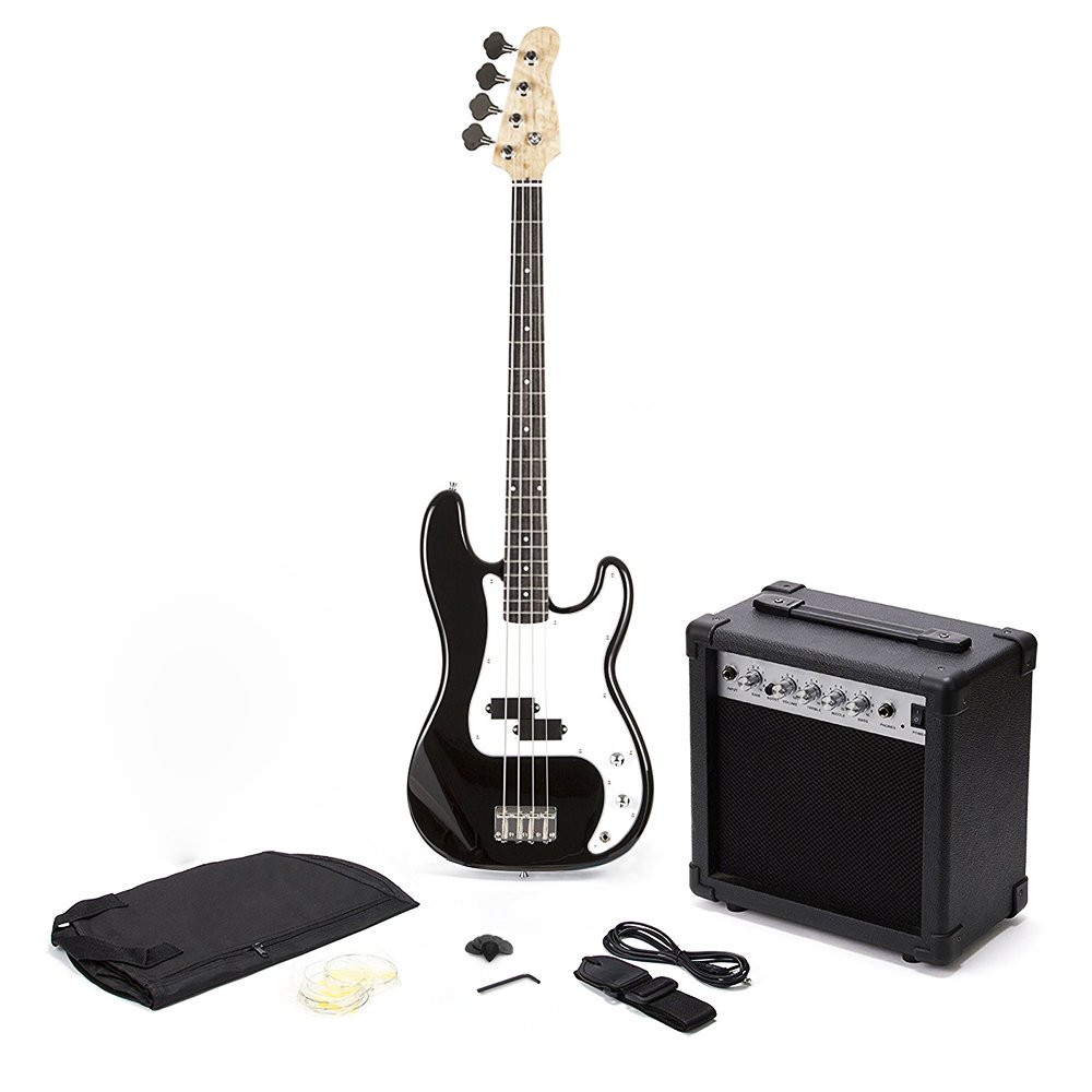 pb precision style black 4 string electric bass guitar 15w amp 638353968571 ebay. Black Bedroom Furniture Sets. Home Design Ideas