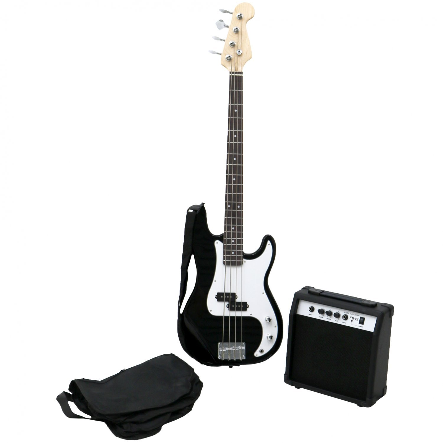 PB Precision Style Black 4 String Electric Bass Guitar & 15W Amp