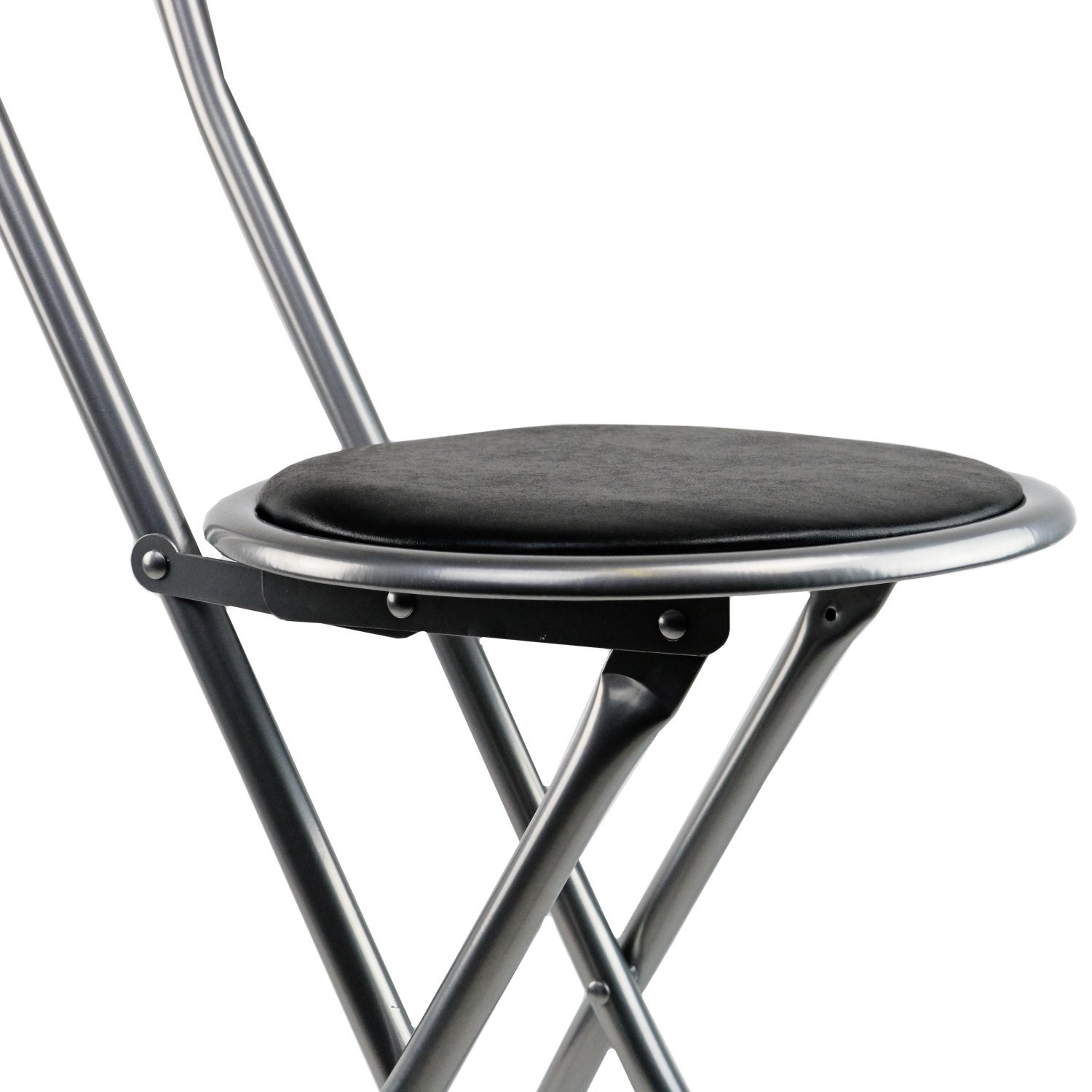 New Black Padded Folding High Chair Breakfast Kitchen Bar Stool Seat Ebay