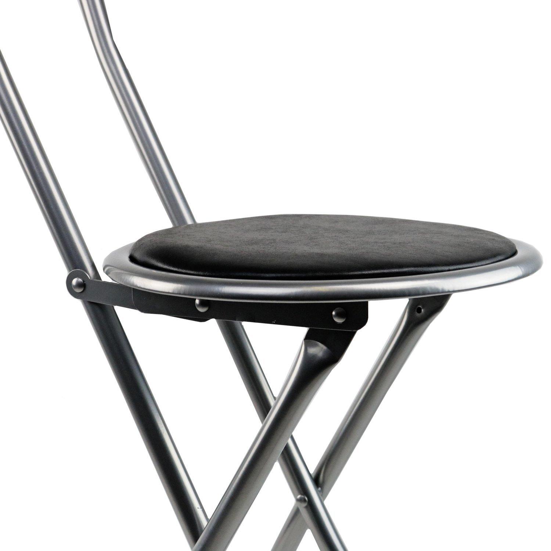 Black Padded Folding High Chair Breakfast Kitchen Bar