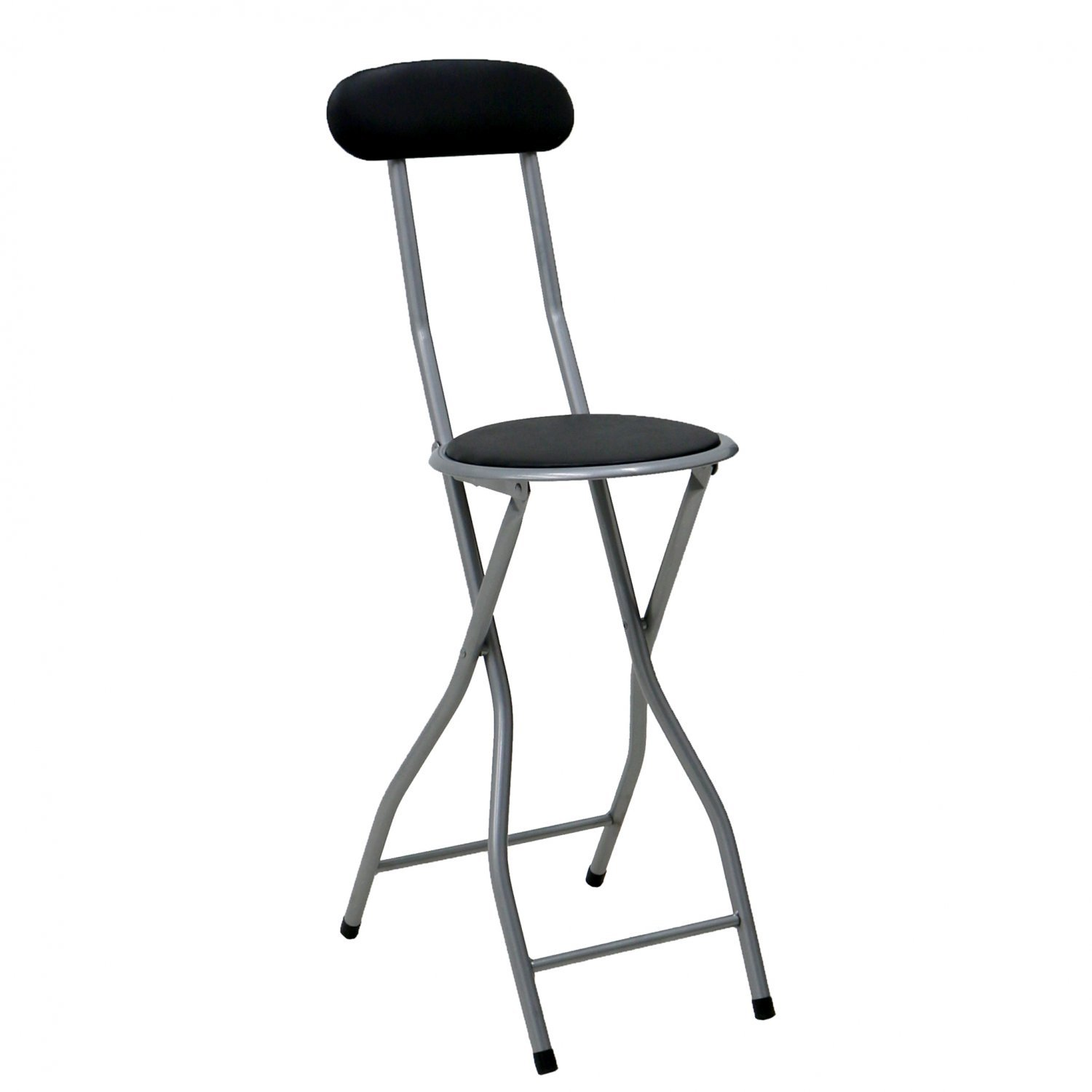 Black Padded Folding High Chair Breakfast Kitchen Bar