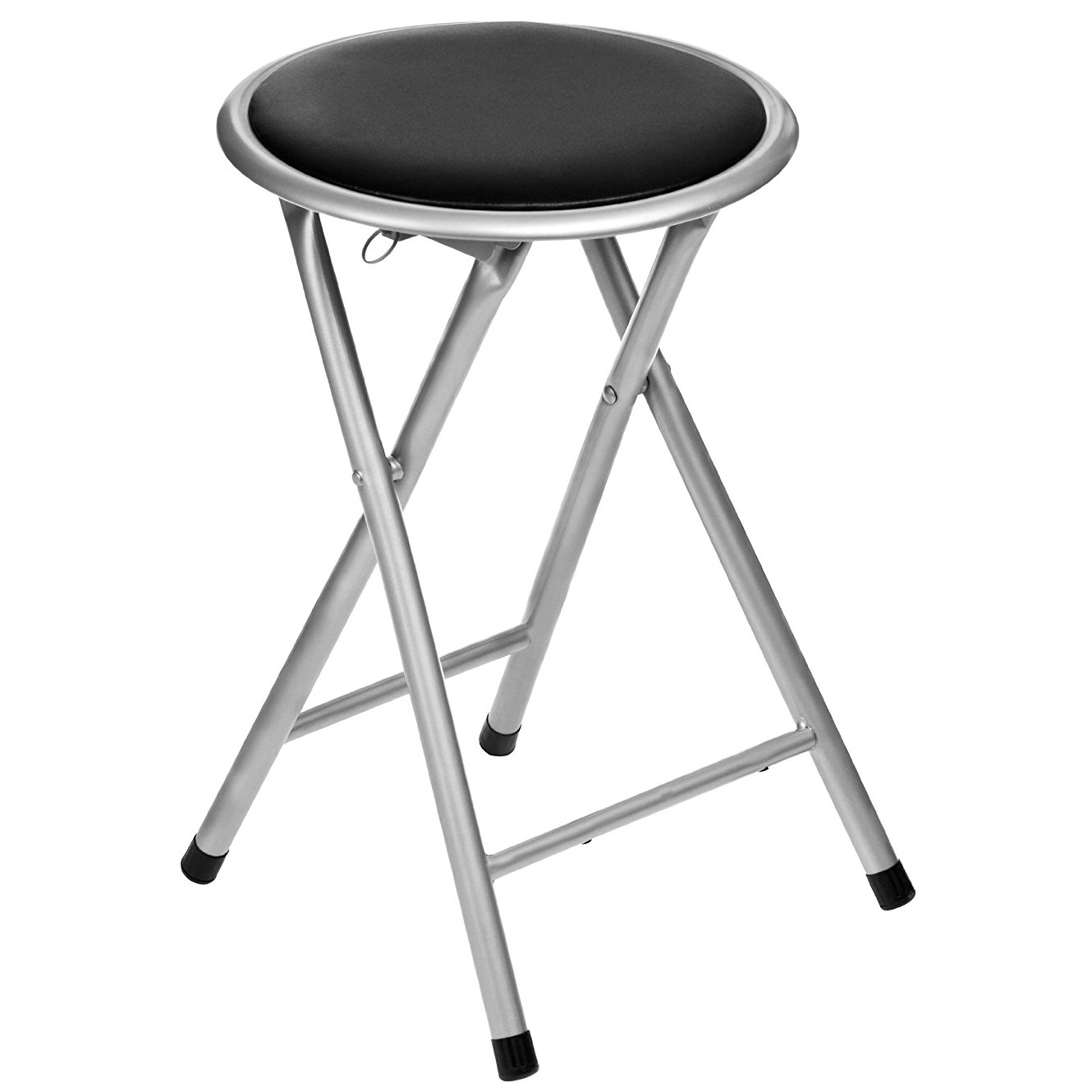 Folding Bar Stools ~ Black padded folding breakfast kitchen bar stool seat £