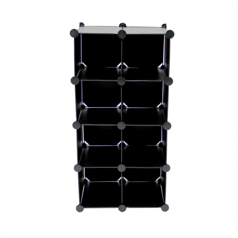 Interlocking 16 Compartment Shoe Organiser Storage Cube Rack Black White Design