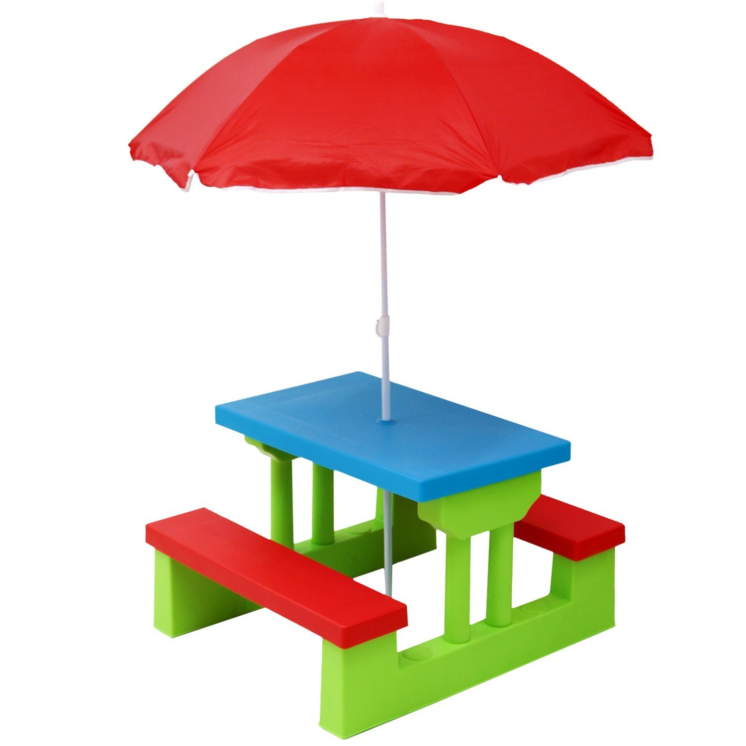 Kids Childrens Picnic Bench Table Outdoor Furniture With Parasol - Picnic table parasol