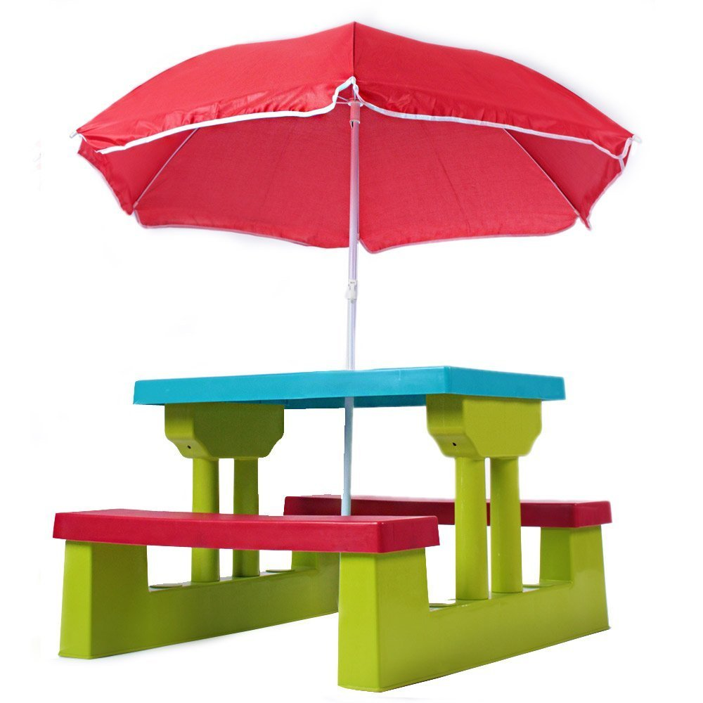 Kids Childrens Picnic Bench Table Outdoor Furniture With Parsol Ebay